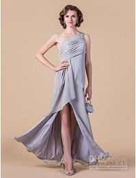 Wholesale Alluring High Slit Stocked Ruffle One Shoulder Chiffon A Line Mother of bride wedding dresses Q6310