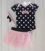 TUTU Girl 18-24 Months Hot sale Baby girls 3 Piece Suits short Romper +Tutu Skirt + Headband Polka-dot baby summer clothes girls skirt set 3-24M