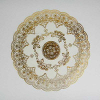 Wholesale High end European Gold Cup Mat Doily Round placemat cup mat