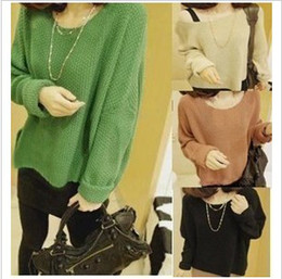 Wholesale latest spring Batwing Round Neck Pullover Jumper Bottoming Ladies Casual Loose Short Sweater D