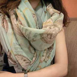 Wholesale Women New all match scarf ladies chiffon silk beach shawls girls clock printing pashmina candy colors t5357