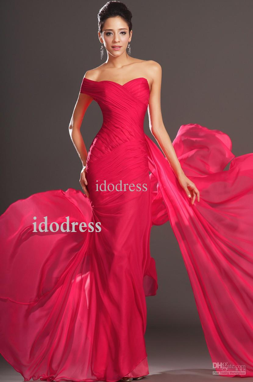2014 Best Selling Red Prom Dresses One Shoulder Sheath Column Open ...