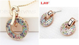 Fashion Accessories Bijouterie For Women Rose Gold Plating Crystal Pendant Necklace Earring Jewelry Sets Make With Swarovski Elements 2881