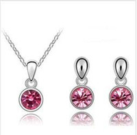 Alloy american made steel - Austrian Crystal Jewelry Sets KRGP Earrings Necklace mix make with Swarovski Elements