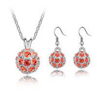 Earrings & Necklace Crystal, Rhinestone Alloy Charm Accessories Shamballa Crystal Necklace Earrings Designer Jewelry sets Make With Swarovski Elements Free shipping (6-Color) 4591
