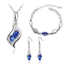 Free shipping Bridal Wedding Crystal Jewelry Sets Necklace Bangles Bracelets Earrings make with Swarovski Elements 6008