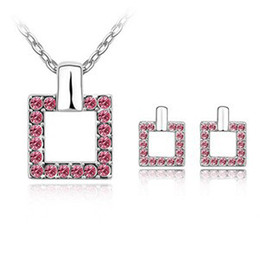 Free shipping Bridal Wedding Jewelry Sets Necklaces Earrings Make With Swarovski Elements 6111