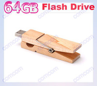 Wholesale 64GB Wood Clamps Shape USB Flash Memory Pen Drive Sticks Thumb Drives Disks Discs GB Pendrives Thumbdrives Hot W027V