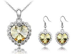 Free shipping Heart Necklaces Earrings Bridal Jewelry Sets Make With Swarovski Elements 4634