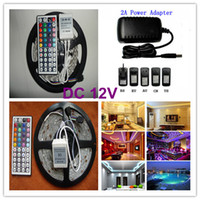 Holiday SMD 3528 Yes RGB 3528 SMD LED Strip Light + Remote Control 44key + Adapter 12V 2A is suitable for Christmas Store Free by China Post