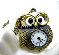 Quartz big eye chains - Big eyes bronze color Owl Design Quartz Pocket amp Fob Watches with chain Pendant Necklace FreeShipping