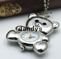 Quartz bear pocket watch - New arrive fashion silver Bear pocket watch Necklace Quartz pocket watch necklace