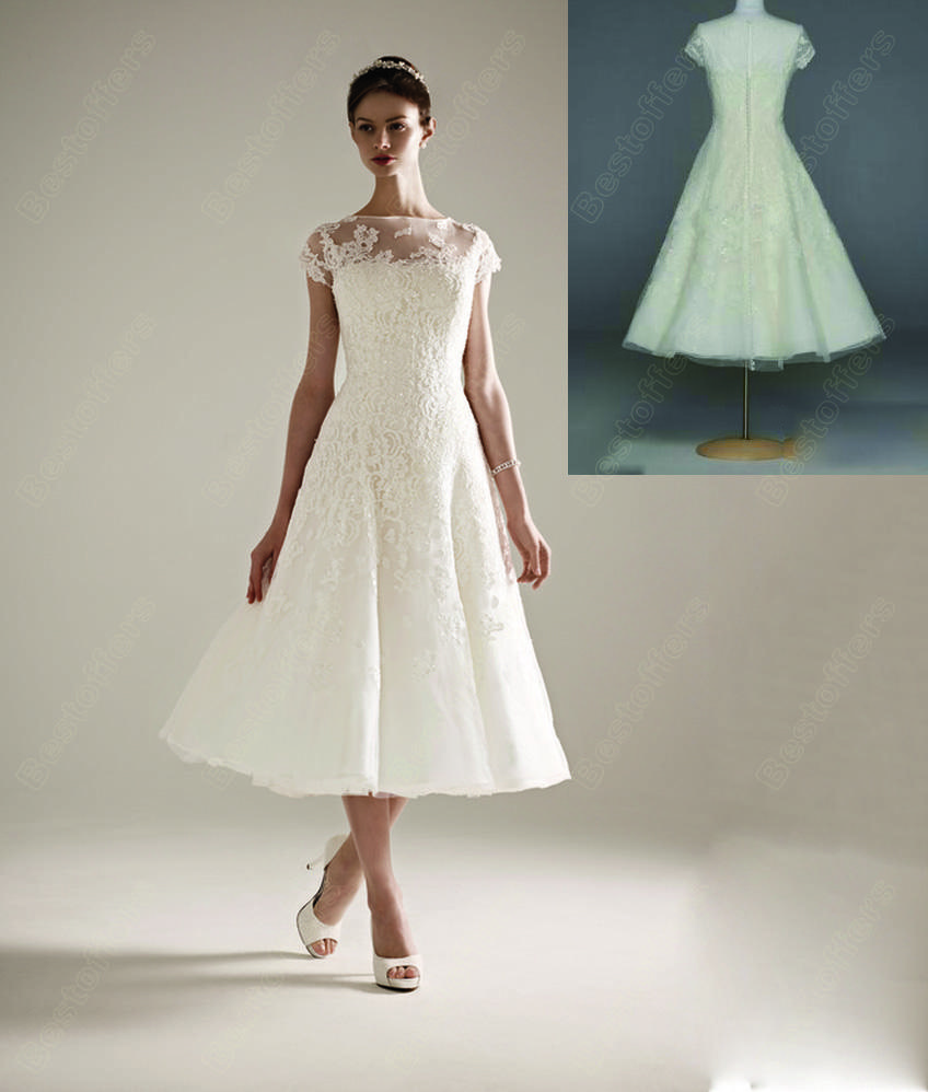 new fashion 2016 spring summer affordable lace wedding gown boat neck tea length a line zipper. Black Bedroom Furniture Sets. Home Design Ideas