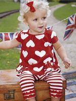 Girl infant and toddler clothing - 5 Sets Infant Baby Girls Short Sleeved Red Heart T Shirt Red and white Stripe Pants Toddler Children s Casual Outfits Kids Clothing Sets