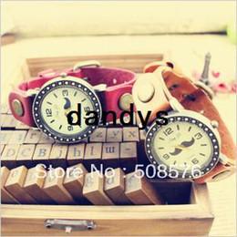 Wholesale Promotion Cow leather watches Beard design Unisex Wristwatches quartz watches psc