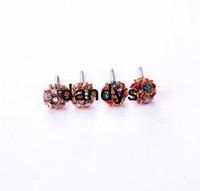 14k gold earrings - Korea style czech crystal k gold spherule Women stud earring boxed package pair