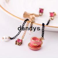 Wholesale 12pair fashion jewelry sweet style pink tea cup design women asymmetrical earrings