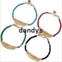 Wholesale Fashion jewelry handmade accessories feather red string knitted bracelet