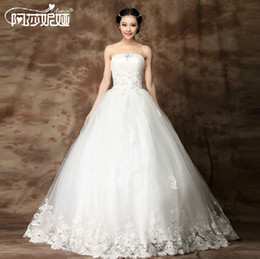 Wholesale NEW Sexy A line strapless Princess Wedding Dress Tulle Strapless Straight Bridal Gown evening dress graduation gown prom dresses A2