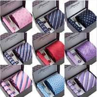 Wholesale NEW ARRIVAL silk men s ties formal necktie men cravat set Nicktie Handky Ties Clip Cufflinks Tis Box Hand bag gifts
