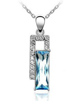 Wholesale Cheap Bijoux Fashion Accessories For Women Crystal Pendant Necklace Charm Jewelry make with Swarovski Elements colors