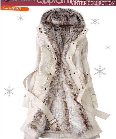 Hot Sell!Faux Fur Lining Women's Fur Coats Winter Warm Long Coat ...