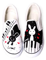 Wholesale Lovely Rabbit White Canvas TPR Sole Painted Shoes For Women u7 osE