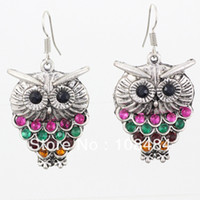 Wholesale Colorful rhinestone owl earrings Vintage bohemian fashion jewelry LM E135
