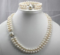 Wholesale Luxury Row Akoya Cultured pearls Necklace Bracelet Set MM Jewelry set