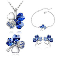 Wholesale Fashion Charm Crystal Bijoux Sets Necklace Earrings Bracelet Brooch Bridal Jewelry Sets