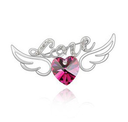 High Quality Crystal Brooches Heart Brooch Fashion Costume Jewellery Ms. Crystal Rhinestone Brooches For Wedding Invitation 3324