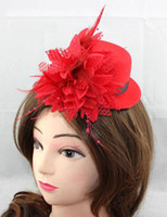Wholesale new Ladies Royal hats inch Hot Selling Women Feather Hair Clip Mini Top Hat Fascinator Cocktail Party Decor