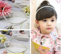 Wholesale Kids Hair Bows Children Accessories Fashion Princess Pearl Hair Bands Child Headwear Baby Hair Accessories Girls Cute White Beaded Headbands