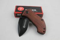Mango Excelente Calidad BOKER DA33 Plus Mini cuchillo 440C 56HRC Pequeño regalo Caza cuchillo plegable Negro Hoja Madera Acero regalo de Navidad
