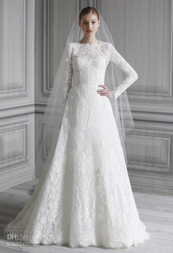 2013 Elegant New Style Long Sleeve Lace Court Train Empire Wedding ...