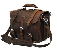 Wholesale men s shoulder bag Briefcases Travel bag Real Crazy horse leather Grind arenaceous