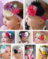 Wholesale New Baby Girl Pearl Chiffon Headband Color TOP BABY Rags Rose Flower Rhinestone Headband Hair Hoop Princess Hair Accessories