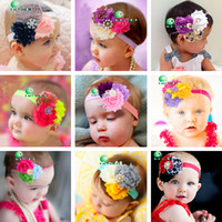 Headbands Pearl Rhinestone Rose Flower Floral New TOP BABY Chiffon Rags Rose Flower Rhinestone Headband 30pcs lot 30 Color Pearl Handmade Flower Hair Hoop Princess Hair Accessories