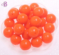 Wholesale 20mm round neon orange color chunky acrylic solid beads for DIY jewelry necklace