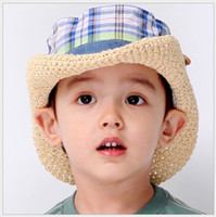 Wholesale 2013 New Fashion Popular spring summer baby boy girl Plaid hat children straw hat sun hat natural beach hat M132