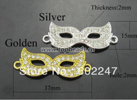 Wholesale Curved Side Ways Sparkling Crystal Rhinestones Mask Bracelet Connector Mask Connector