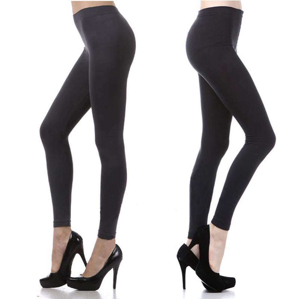 2017 New Ladies Basic Ultra Stretch Pants Tights Black Full Length ...