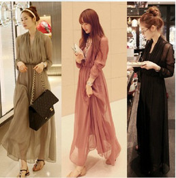 Wholesale New Summer Long Sleeve Chiffon Dress Pieces Set Maxi Dress Hot Women Beach Dress Prom Party Dress Skirt GB0519