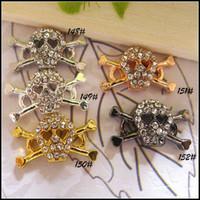 Wholesale Skull Connector Beads - 30PCS Crystal Rhinestone Skull Shape Sideways Bracelet Connector Charm Beads For Making Bracelets Jewelry Findings