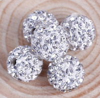 Wholesale MIC mm Shambhala White Clear Crystal Rhinestones Pave Round Disco Ball Spacer Beads Jewelry DIY