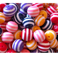 Wholesale Resin Striped beads Mixed color mm