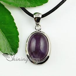 oval glass opal amethyst jasper jasper rose quartz tiger's eye natural semi precious stone pendant necklaces Handmade jewelry
