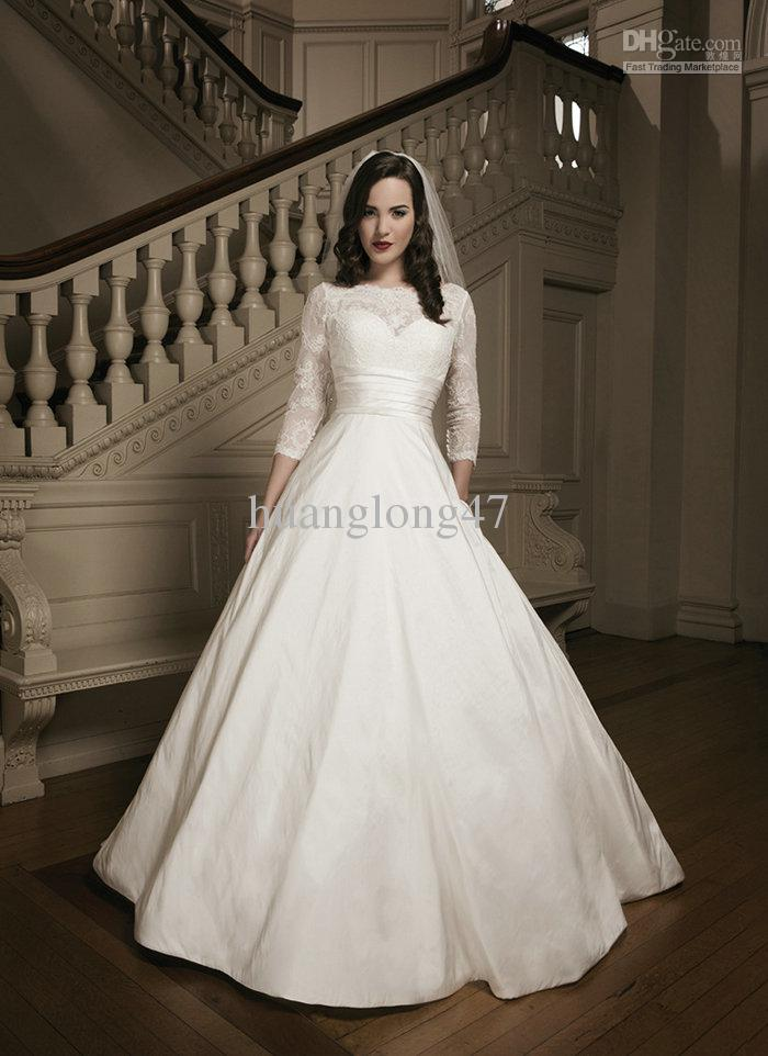 Three quarter sleeve satin taffeta sashes sweetheart ball for 3 quarter sleeve wedding dress