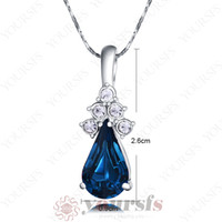 Wholesale Fashion gift k gold plated necklace White Gold Plated Swarovski Crystal Sapphire Charms Pendant Necklace N044W3
