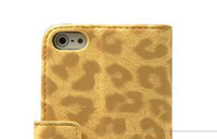 Wholesale leopard leather cover for iphone5 wallet fashion case for iphone g luxury